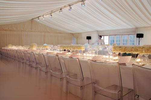 Lined clear span marquee to hire for wedding or Corporate Event