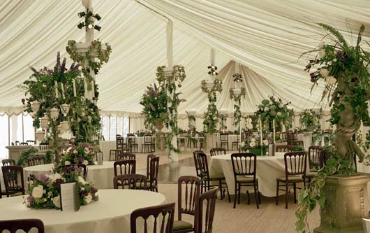 Lined traditional pole marquee to hire for wedding or garden party