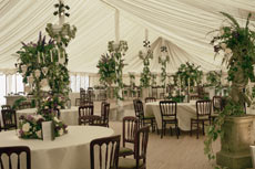 lined traditional pole marquee for wedding or garden party